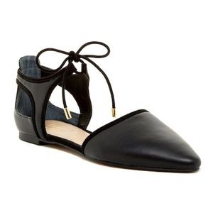 Franco Sarto Black Leather Shaker Pointed Toe Flat